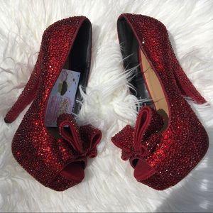 Crystallized red stiletto pumps (BNIB)